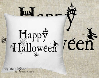 Digital Download Happy Halloween Witch and Spider Web House Black & White Image For Papercrafts, Transfer, Pillows, Totes, Etc hd-004