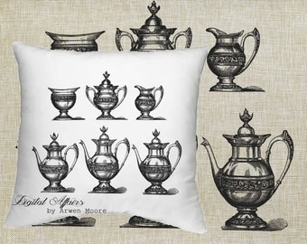 Digital Download Tea Room Collection Vintage Chic Old Tea Set Black & White Image For Papercrafts, Transfer, Pillows, Totes, Etc va020