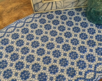 Colonial blue overshot handwoven table runner
