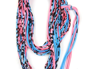 Pink Scarf, Blue Scarf, Leopard Print, Women, Infinity Scarf, Gift for Her, Girlfriend Gift, Bright Scarf, Spring Scarf, Leopard Print Scarf