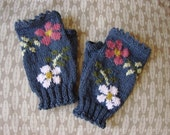 Dog Rose fingerless mitts with picot edges - hand knit in dark bluey-grey wool