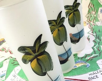 Vintage Florida glasses Ft. Myers Beach tumblers highball frosted glass set of 3 palm trees souvenir kitsch Floridiana