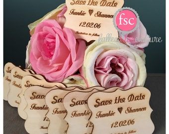SAVE THE DATE Tag , wedding save the date , wedding date tags , wedding favor wood tag, personalized save the dates