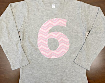 Pink Chevron Girls Birthday Number Shirt - Custom Age/Size/Shirt Color 1, 2, 3, 4, 5, 6, 7, 8 pink gray white party number onesie applique