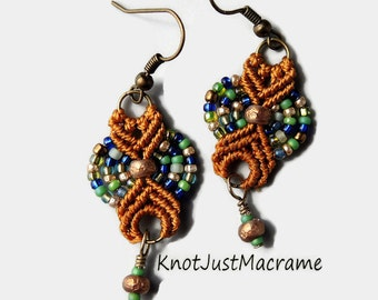 Gold, Green and Blue  Colored Beaded Macrame Earrings MicroMacrame