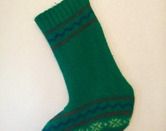 Vintage Grass Green Wool Stocking