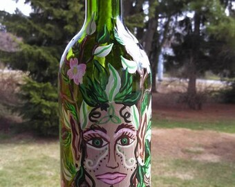 Green Woman Hand-Painted Oil Lamp