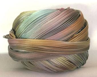 Shibori Ribbon Hand Dyed Silk Ribbon Pewter Borealis Silk Ribbon Shibori Girl