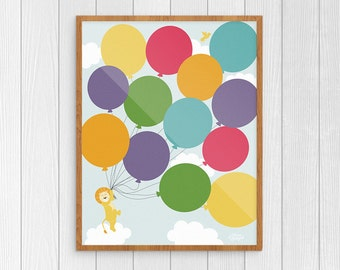 DIY Printable Nursery Art, Balloon Decor for Girls Room, Rainbow Baby Art, Children Wall Decor, Printable Wall Art, Kids Room Art
