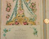 Vintage Valentines day Pop Up Card for A Special Friend 1960's Un-used