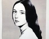 young lady- print- wall art- art decor -  woman PORTRAIT ART PRINT