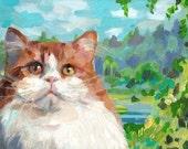dream moods - Orang cat - cats paintings  -  Pets Original - painting on mdf- art painting - animal painting