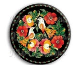 """50% OFF - Russian Birds Pocket Mirror, Magnet or Pinback Button - Wedding Favors, Party themes - 2.25"""" MR509"""