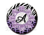 """50% OFF - Pocket Mirror, Magnet or Pinback Button - Party Favors 2.25"""" -  Personalized Initial Purple Animal Print MR342"""