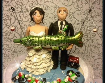Fish Wedding Cake Topper, Personalized