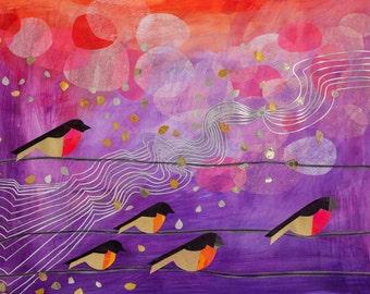 Robins Hood, bird print, robins, purple, abstract wall art, whimsical, kids art, art print, modern wall decor,  birds on a wire, nature art