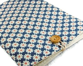 Ipad mini sleeve / ipad mini case / ipad mini cover, bridesmaid gift, ereader case, small tablet pouch, navy daisies cotton fabric cloth