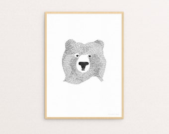 Bear Of Few Words A4 Print
