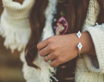 sterling silver cuff, open cuff, bracelet, turquoise, stone // SUNDOG CUFF