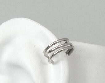 Pierced Cartilage Hoop, Helix Piercing, Conch Earring, Body Jewelry, Upper Ear Hex Ring, Tragus Body Piercing, Silver Triple Round MCTRWSSP