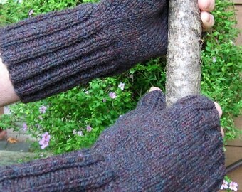 Knit Man Mitts XL Fingerless Mittens Gloves Blue/Iron Grey Heather X Large Wool Classic Mens Cold Weather Gear for Big Hands Ready to Ship