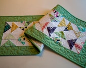 Quilted Table Runner or Wall Hanging with Modern Prints and Florals - Quiltsy Handmade