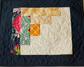Quilted Mug Rug in Modern Log Cabin Design, Patchwork Place Mat in Colorful Fabrics