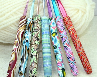 Polymer clay covered crochet hook set, Extra thick handles, Susan Bates new hooks, 7 designs, Handmade size C2 through size I9