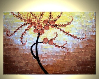 Original Abstract RED Cherry Blossom TREE Impasto Landscape Textured Modern Palette Knife Painting Lafferty 36x24, 22% Off