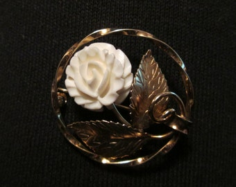 Vintage--Ladies Brooch--White Carved Flower--Gold Leaves--K.L. 12K Gold Filled--Signed
