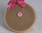 Winter Clearance Embroidery hoop art, 3 inch, flowers,  flower buttons, hand embroiderey