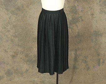 Clearance Sale vintage 80s Pencil Skirt - 1980s High Waist Pleated Black Minimalist Skirt Sz S