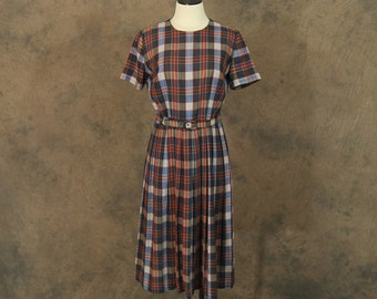 vintage 50s Dress - 1950s Plaid Pleated Skirt Day Dress Sz M