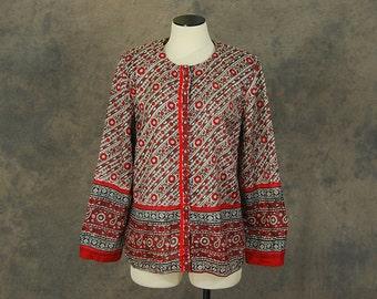 vintage 70s India Silk Shirt - Boho Silk Blouse Block Printed Red Floral Top Sz L