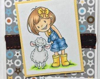 Hey Ewe Lamb Girl Farm Friends Sheep Handcolored Handmade Greeting Card