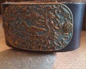 Up-Cycled Black Leather Cuff Bracelet with - a Hand Patina Antique Brass Metal with vintage inspired design