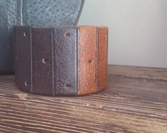 Customize your own Up-Cycled Multi Color  Leather Cuff -QUOTE