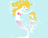 "8X10"" Mermaid mother & Daughter giclee print on fine art paper. Sky blue, teal, pink, lilac purple and blonde"