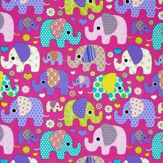Pink large elephant cotton fabric child 39 s mauve fabric for Nursery cotton fabric