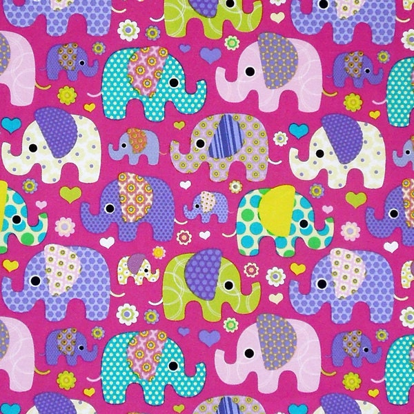 Pink large elephant cotton fabric child 39 s mauve fabric for Childrens elephant fabric