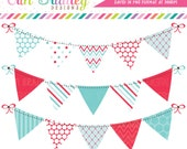 Blue & Red Clipart Bunting Graphics Commercial Use Digital Banner Flag Clip Art Polka Dots Chevron and Striped Patterns