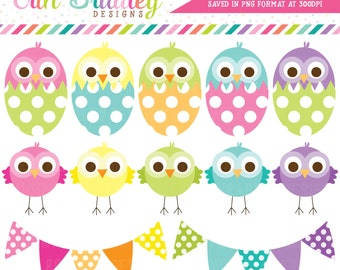 Easter Clipart Chickadees Eggs and Bunting Commercial Use Clip Art Graphics