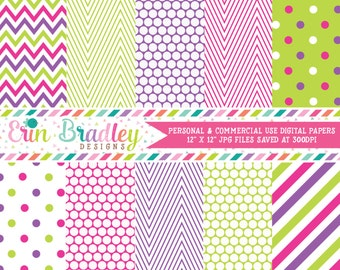 Pink Green & Purple Digital Paper Pack Commercial Use Graphics Instant Download