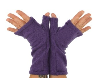 Cashmere Fingerless Gloves in Royal Purple - Upcycled Wool