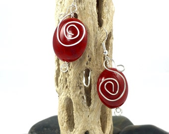 Silver Spiral Red Bead, Wire Earrings, Unique Dangle Hand Forged, Hand Hammered Earrings