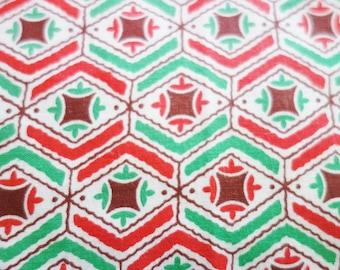 1940s Feed Sack Fabric, Grain Sack Fabric, Red Feedsack Fabric, Green Feedsack Fabric