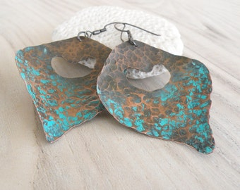 Lotus Petal Earrings - Large, Hammered Copper, Turquoise Patina, Sterling Ear Wires