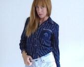 30% off ... 70s Equestrian Horse Shoe Print Button Down Blouse Shirt - XS