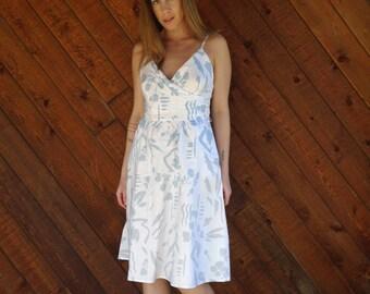 Sleeveless Printed Cotton Sun Dress - Vintage 80s - XS S