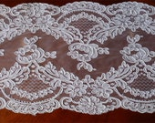 Reserve for Risa New Old Stock~4.8 yards x 10-inches~Vintage Alencon LACE~ROSES~Made in FRANCE~Scallop
